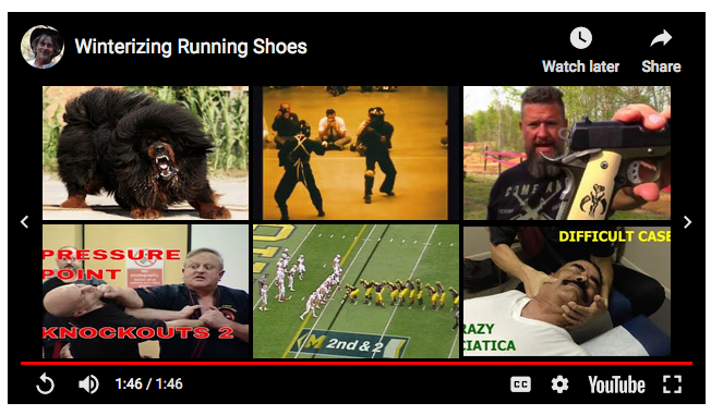 None of these related videos has anything to do with running or winterizing shoes.